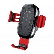 BASEUS Wireless Charging Mount Car Air Vent Gravity Phone Cradle for iPhone X/8/8 Plus Etc. (Not Support FOD Function) - Red