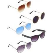 Zyaden Aviator, Aviator, Aviator, Wayfarer, Round Sunglasses(Brown, Blue, Black, Blue, Black)