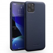 QIALINO Litchi Texture Genuine Leather Phone Back Case for iPhone 11 Pro 5.8 inch (2019) - Blue