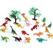 Naughtytoys 22 pcs Dinosaurs Plus 2 Model Trees - Educational Dinosaur Toy Playset with T-rex, Velociraptor and More!