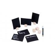 Securit Kreidetäfelchen mit Holzwürfel-Halterung, 6er-Set, inkl. Kreidemarker