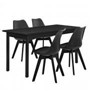 [en.casa] Mesa de comedor negra con 4 sillas negras