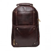 C Comfort 18 inch Pure Brown Leather Backpacks Bag for men and women EL82