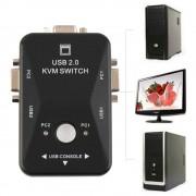 In Voorraadoriginele Auto Controller 2 Port Hub USB 2.0 KVM SVGA VGA Switch Box Monitor Toetsenbord Muis Printer Adapter Verbindt