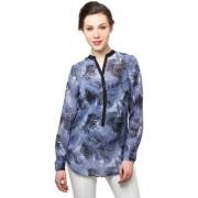 Moderno Blue Black Rayon Printed Mandarin Collar Top