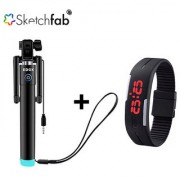 Sketchfab Combo of Black Compact selfie stick wired + LED Watches Unisex Silicone Rubber Digital Watches
