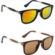 Honey Boney Retro Square Sunglasses(Yellow, Brown)
