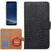 Let op type!! Samsung Galaxy S8 / S7 Edge & Huawei P9 Plus horizontaal Krokodil structuur PU leren universeel Flip Hoesje voor 5.3-5.5 inch telefoon met foto frame en opbergruimte voor pinpassen (zwart)
