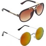 Zyaden Aviator, Round Sunglasses(Multicolor, Brown)