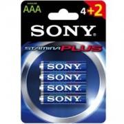 Батерии Sony, Алкални, LR03-AAA Stamina Plus, 4 + 2 бр., AM4-B4X2D