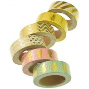 Washi Tapes Yookat Colorful Washi Tapes Washi Mask Tape Collection Washi Tape Roll (Set of 6 Rolls) Craft Tape Scrapbooking Tape- Perfect for Scrapbooking DIY Crafts and Gift Wrapping