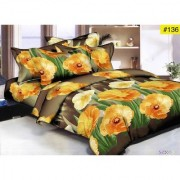 Luxmi Attractive flowers Design 3D Double Bed sheets With 2 Piilow covers - Yellow