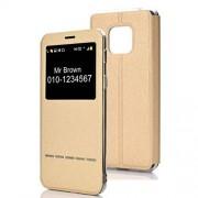 JUNXI Phone Case Estuche de Cuero con Tapa Horizontal para Huawei Mate 20 Pro, con Soporte e identificador de Llamada (Negro) + Simple y Moderno (Color : Gold)