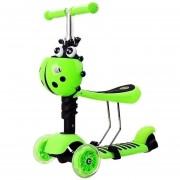 Scooter Monopatín 3 En 1 con luces Mariquita y Asiento - Verde