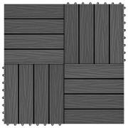 vidaXL Plăci podea în relief, WPC, 11 buc., 30 x 30 cm, 1 mp, negru