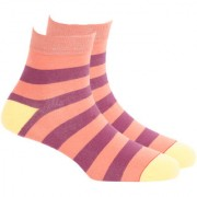 Soxytoes Wide Stripe 4 Orange Cotton Ankle Length Pack of 1 Pair Striped for Men Casual Socks (STS0008A)