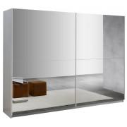 IB Living Kledingkast Kenzo 230 cm breed - compleet spiegel met hoogglans wit