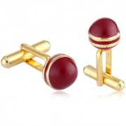 Sukkhi Dazzling Gold plated red tennis ball shaped cufflink for men