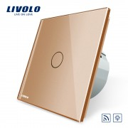Intrerupator wireless cu variator cu touch Livolo din sticla, auriu