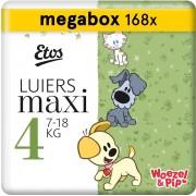 Etos Woezel & Pip Luiers Maxi Maat 4 - 7-18 kg - Maandbox 168 stuks (3 x 56 stuks)