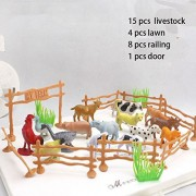 """15pcs/pack Farm Animals Toys 2"""" Animal cow dog sheep goose Family Farm Poultry Feed Fence Simulation Model toy for Children"""