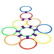 MagiDeal 39.5cm Diameter 10 Rings & 10 Ring Clips Twister Hopscotch Active Indoor Play Game Complete Set with Box for Children Kids Play for Fun