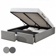 DFM Lit double en tissu gris avec rangement intégré et tiroirs Lagertha