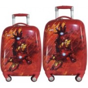 Texas USA set of 2 bags 18 inches and 22 inches IRONMAN Printed Polycarbonate 4 wheel Kids Trolley Bag Expandable Cabin Luggage - 22 inch(Red)