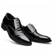 Zapatos De Vestir Respirable Con Ecocuero Cosido Para Hombre - Negro