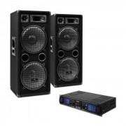 """Electronic-Star DJ SET """"DJ-20"""" PA-Verstärker PA-Box Kabel 2000W"""