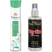 Yardley Imperial Jasmine Refreshing Body Spray 150ml and Pink Root Tag-Him Pour Homme Fragrance body Spray 200ml Pack of 2
