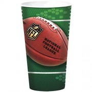 amscan NFL Drive Birthday Party Plastic Cups, Green/Brown, 7 x 4