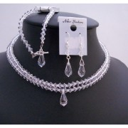 Bridal Clear Crystals Teardrop Double Stranded Jewelry Necklace Set