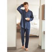 NOVILA Flanell-Pyjama, Herren, 54 - Blau meliert