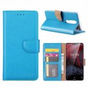 Luxe Lederen Bookcase hoesje voor de Nokia 6.1 Plus - Blauw