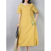 Meco Cotton Embroidered Short Sleeve O-Neck Dress with Pocket