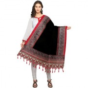 Meia Black and Red Colored Ethnic Printed Bhagalpuri Silk Dupatta