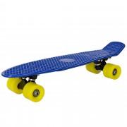 [pro.tec]® Monopatín retro - Skateboard / Mini Cruiser - azul - amarillo - (57cm)