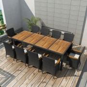 vidaXL Matgrupp för trädgården 21 delar konstrotting svart