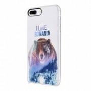 Husa Silicon Transparent Slim I Love Romania Apple iPhone 7 Plus 8 Plus