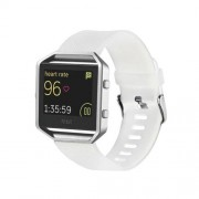 For Fitbit Blaze Watch Oblique Texture Silicone Watchband Large Size Length: 17-20cm(White)