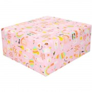 Geen 2x Inpakpapier/cadeaupapier girlpower 200 x 70 cm roze
