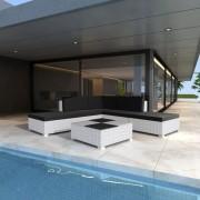 Set mobilier de grădină cu perne, 6 piese, alb, poliratan