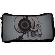 Snoogg Skull With Headphones Poly Canvas Student Pen Pencil Case Coin Purse Utility Pouch Cosmetic Makeup Bag