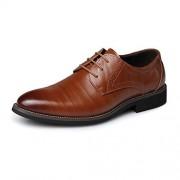 XIANGBAO-Personality -Personalidad Zapatos de Cuero de la PU de los Hombres Simples con Cordones Slouch Vamp Mocasines Forrados con Esmoquin Brogue Oxfords Negro talón (Color : Marrón, tamaño : 29)