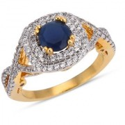 Tistabene Retails Contemporary Designer Two Tone Plated Blue Stone Trendy Casual Ring For Women and Girls (RI-0821)