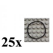 LEGO Technic NEW 25 pcs LARGE BLACK RUBBER BAND BELT PACK Elastic Square Cross Section part x264 mindstorms NXT ev3 robotics motor robot piece