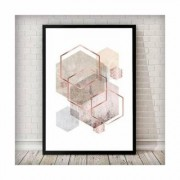 East Urban Home 'Geometrical Hexagon Sand Rose, Marble, Gold Blush Pink' Framed Graphic Art Print East Urban Home Size: 63 cm H x 45 cm W, Frame Options: Black - Size: 63 cm H x 45 cm W