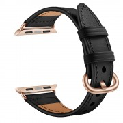 Genuine Leather Watch Strap Smart Watchband for Apple Watch Series 1/2/3 42mm / Series 4/5 44mm - Black