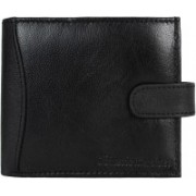 Kinetic Leathers Men Black Genuine Leather Wallet(11 Card Slots)